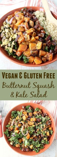 Spinach & kale are tossed with an avocado vinaigrette, roasted butternut squash, pistachios, dates & quinoa in this vegan & gluten free kale salad recipe, made in 29 minutes!