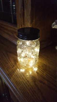 Mason Jar Solar Fairy Light 10 LED Soft White Angel by fsgifts Fairy Lights In A Jar, Mason Jar Solar Lights, Solar Fairy Lights, Firefly Mason Jars, Mason Jar Lamp, Solar Light Crafts, Light Chain, Bottles And Jars, Mason Jar Crafts