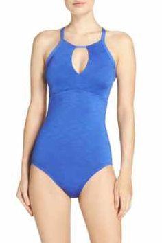 Alternate Image 1 - Nike Iconic Heather High Neck One-Piece Swimsuit