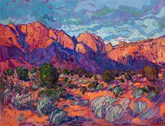 Kayenta Utah landscape oil painting of red rock cliffs, by expressionist oil painter Erin Hanson.