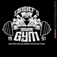 """""""Zangief's Gym"""" by Coinbox Tees $10 today at ShirtPunch.com (02/16). #featureditem #StreetFighter #Zangief #RedCyclone #Gym #Wrestling #Capcom #VideoGames #Gaming"""