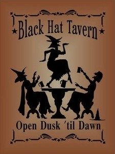 Witchcraft Black Hat Tavern Halloween witch decorations signs Primitives Witches Sign Bar Man Cave pub Folk Art Painting Plaques wiccan by SleepyHollowPrims, $24.30 USD