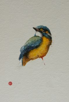 Kingfisher by Karl Martens A striking kingfisher sits proudly on a branch in this exquisite painting, his colourful head turned to the side, as he listens to the sweet song of other birds around him. His vivid yellow chest puffs proudly, as his blue-green wings move gently in the breeze.