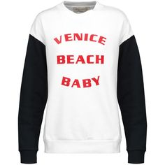 Etre Cecile Venice Beach Baby flocked cotton-fleece sweatshirt (3,750 PHP) ❤ liked on Polyvore featuring tops, hoodies, sweatshirts, white, fleece tops, cotton fleece sweatshirt, loose sweatshirt, beach sweatshirts and loose cotton tops