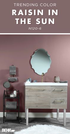 Upgrade your bathroom with this trending wall color. Behr Paint in Raisin In The Sun is a red-touche Bathroom Decor Sets, Bathroom Paint Colors, Wall Paint Colors, Paint Colors For Living Room, Paint Colors For Home, Bedroom Colors, Home Decor Bedroom, House Colors, Shower Bathroom