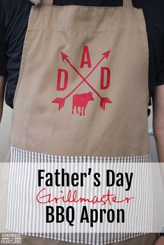 DIY Father's Day Grilllmaster BBQ Apron.  Painted fabric with a vinyl stencil. Free silhouette cut file.