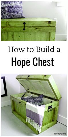 Green Woodworking Projects These free plans show you step by step how to build your own DIY hope chest/storage trunk. Built with construction lumber and simple joinery this project is an easy weekend project perfect for end of the bed storage a toy box or an entryway bench..Green Woodworking Projects  These free plans show you step by step how to build your own DIY hope chest/storage trunk. Built with construction lumber and simple joinery this project is an easy weekend project perfect for… Woodworking Shop Layout, Green Woodworking, Woodworking Lamp, Best Woodworking Tools, Woodworking Projects For Kids, Diy Projects, Storage Trunk, Bed Storage, Free Plans