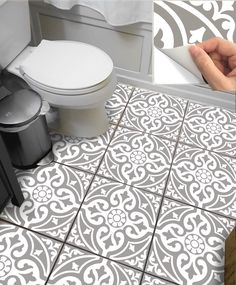 Tile Sticker for Kitchen, bath, floor, wall Waterproof & Removable Peel n Stick: Gra - Renovieren Linoleum Flooring, Bathroom Flooring, Bathroom Gray, Bathroom Bath, Tile Decals, Wall Tiles, Wc Decoration, Credence Adhesive, Wall Waterproofing