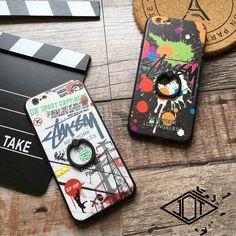 iPhone7 プラス ケース ステューシー ペア 薄型  ハードケースバンカーリング