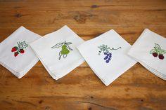 bounty of fruit - hand embroidered napkins on flour sack fabric 12 TL each, 4 euro Flour Sacks, Euro, Napkins, Fruit, Fabric, Tejido, Tela, Towels, Dinner Napkins