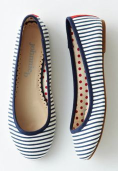 fun navy striped flats