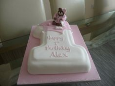 Teddy bear 1st birthday cake.