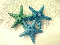 Blue and Green Starfish hair clips beach wedding by Hairfetti. #etsyshp #starfish #hairclips