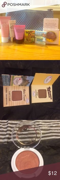 """Brand New Beauty Bundle: The Balm, Sephora, etc. The Balm Bronzer/Blush in """"Take A Dip"""".       The Balm Bronzer in Bahama Mama.     Sephora Colorful Cheek Gel in """"01 Peony"""". Pacifica Bloushious in """"Wildrose"""".          Caudalíe Moisturizing Sorbet & Eye Lifting Balm.  COMES WITH BAG.  👄WILLING TO SEPARATE ON REQUEST👄 Sephora Makeup"""