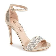 Lauren Lorraine 'Arielle' Ankle Strap Sandal ($99) ❤ liked on Polyvore featuring shoes, sandals, heels, sapatos, nude sparkle, ankle strap heel sandals, stiletto sandals, ankle strap sandals, stiletto heel sandals and sparkle shoes