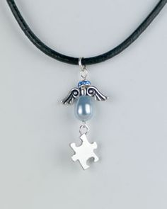 """Autism Puzzle Link Pendant Necklace in """"Shades of Blue"""""""