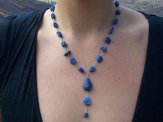 Blue Raw Lapis Lazuli Necklace Handmade by MountainUrsusDesigns, $122.00