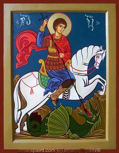 George & the Dragon by Tamara Rigishvili Patron Saint Of England, Saint George And The Dragon, Saints Days, Orthodox Icons, Patron Saints, Persecution, Byzantine, Faeries, Drake