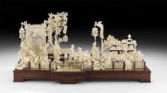 Significant Chinese Antique Ivory Figural Group - by New Orleans Auction Galleries Bone Carving, Chinese Antiques, Antique Items, View Image, Chinoiserie, Asian Art, New Orleans, Sculptures, Auction
