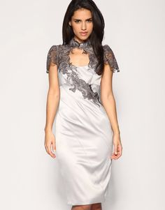 plus size  dress women cocktail party dresses with lace+ silk knee length ,gray, black,1pc wholesale+free shipping on AliExpress.com. 8% off $64.39