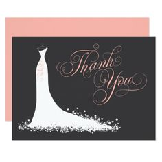 "Bridal Shower Flat Thank You Cards | Wedding Gown Elegant bridal shower or wedding ""Thank You"" note cards for the stylish bride-to-be features an ornate calligraphy script font and flowing wedding gown. Scroll flourish, flower and butterfly details accent the ethereal dress. Flat card format includes space on the back for a handwritten message. Design colors include white, blush pink / peach, and charcoal black."