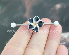 3 colors for Choose! Black Plumeria Industrial Barbell, flower Ear Jewelry Double Piercing, Hawaiian Flower earring,floral earring by woodredrose on Etsy https://www.etsy.com/listing/245151183/3-colors-for-choose-black-plumeria