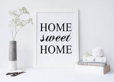 Prinrable art HOME SWEET HOME, typography quote, home print, home art, print poster, wall art, prints and quotes von sweetandhoneyprints auf Etsy