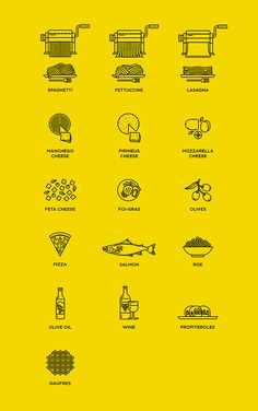 Web content creation. Set of icons related to gastronomy
