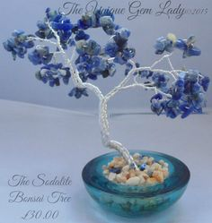 Sodalite Gem Gemstone Bonsai Wire Wrapped Tree Sculpture Hand Crafted Ooak by TheUniqueGemLady on Etsy