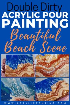 Here is a video tutorial on a double dirty pour using two cups with different colors. Such a beautiful beach scene acrylic pouring art. #acrylicpouring #beachpour #doubledirtypour #pouringuide #dirtypour #acrylicpouringtechnique #artideas #fluidart #fluidpainting #art #creativity Acrylic Painting Tips, Flow Painting, Pour Painting, Acrylic Canvas, Canvas Wall Art, Acrylic Pouring Techniques, Acrylic Pouring Art, Painting Techniques, Beach Scenes