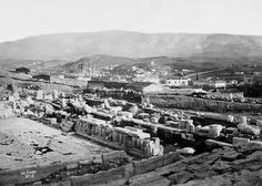 The theater of Dionysus and in the distance, the temple of Olympian Zeus Paul Baron des Granges 1865 Dionysus, Baron, Olympians, Paris Skyline, Distance, Theater, Temple, Travel, Viajes