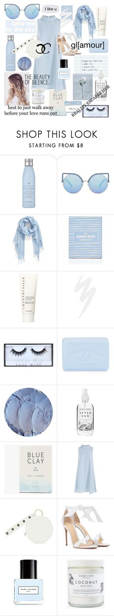 """""""two colors- sky and clouds"""" by que2001 ❤ liked on Polyvore featuring Drybar, Matthew Williamson, Nordstrom, Chantecaille, Urban Decay, Huda Beauty, Pré de Provence, Herbivore, Diane Von Furstenberg and Alexandre Birman"""