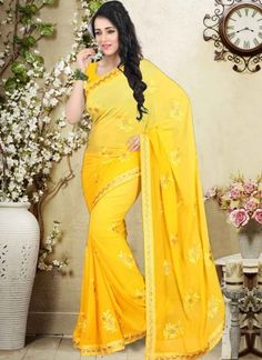 Dazzling Yellow Stone Work Georgette Party wear Saree