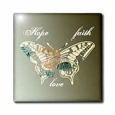 Amazon.com   - Hope, Faith and Love Gold Butterfly inspirational art - Tiles - 6 Inch Ceramic Tile