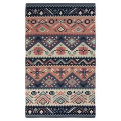 A stylish pink and blue palette lends a fresh look to this handwoven wool rug. Geometric, floral elements create a pattern that's the perfect mix of tradi...