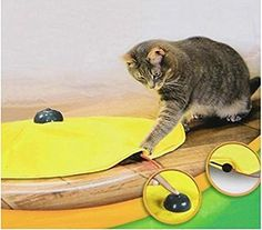 Yosoo 4 Speeds Cat Toy Undercover Mouse Fabric Cat's Meow Interactive Electronic Kitten Pet Play W/ Yellow Shirt -- You can find more details by visiting the image link. (This is an affiliate link and I receive a commission for the sales)
