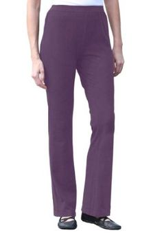 2ed9dfee4ebb5 Woman Within Plus Size Tall Pants With Wide-Leg In Stretch Cotton Jersey  (Ultra Violet