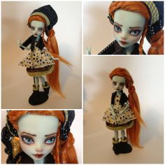 monster high custom doll  ooak monster thesleepyforest keberneteka cute kawaii repaint frankie folk woodsie