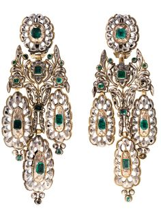 Catalan emerald earrings, late 18th century-early 19th century, gold, silver, emeralds, rectangular and square diamonds weighing 5.41 ctw, table cut pink diamonds weighing 0.35 ctw. 10 cm. 73.9 g