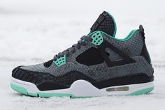 """Python Green Glow"" Air Jordan 4 Retro Custom by JBF"
