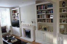 23 Alcove Shelving Ideas for your Living room | JV Carpentry Alcove Bookshelves, Alcove Shelving, Wall Shelving Units, Shelving Design, Shelving Ideas, Shelf Ideas, Alcove Storage Living Room, Living Room Shelves, Victorian Shelving