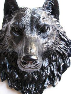 BLACK Faux Taxidermy Large Wolf Animal Head Wall by mahzerandvee