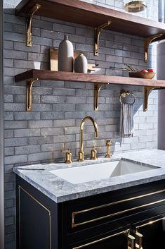 Brass Kitchen Faucet, Copper Kitchen, Kitchen Cabinetry, Kitchen Shelves, Kitchen Backsplash, Kitchen Interior, Kitchen Design, Kitchen Decor, Kitchen Ideas