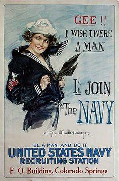 WW I Posters: Gee, I Wish I Were a Man
