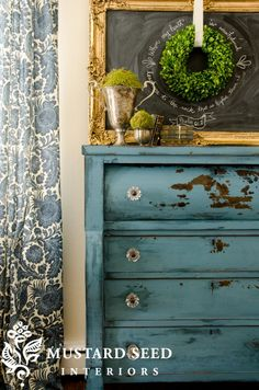 Blue painted dresser from Miss Mustard Seed