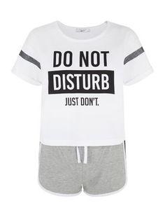 White Do Not Disturb Short Pyjama Set   New Look