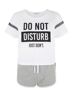 White Do Not Disturb Short Pyjama Set | New Look