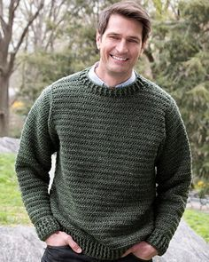 Free Crochet Pattern Father Pullover From RedHeart.com