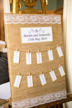 Rustic burlap hessian and lace table plan seating chart