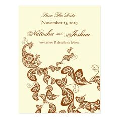 Peacock Wedding Save the Date Cards Vintage Chic Elegant Floral Peacock Save The Date Postcard